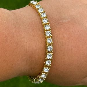 New Icy Gold Finish Tennis Bracelet